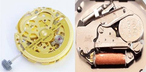 機械錶石英錶比較示意圖