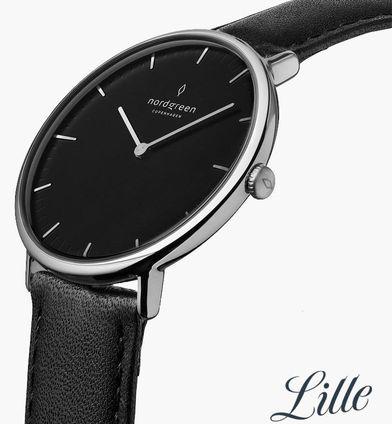 Nordgreen黑色正裝手錶,示意手錶的簡潔功能