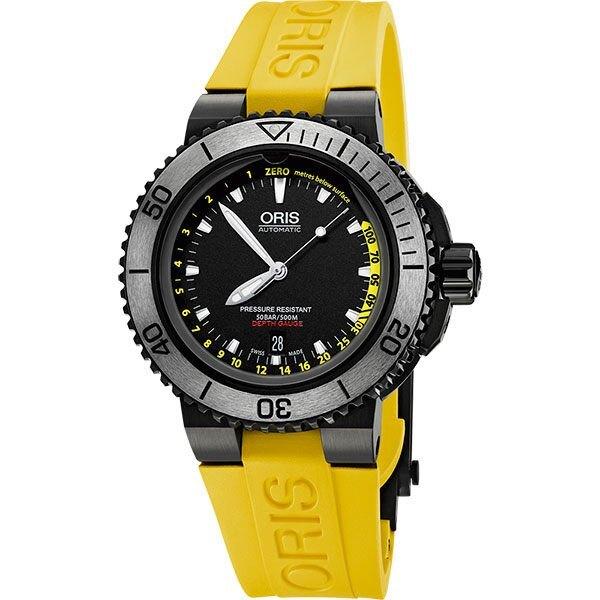 Oris Aquis12點鐘開孔深度測量儀潛水錶黃色