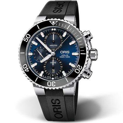 Oris Aquis 計時潛水機械錶藍面黑帶