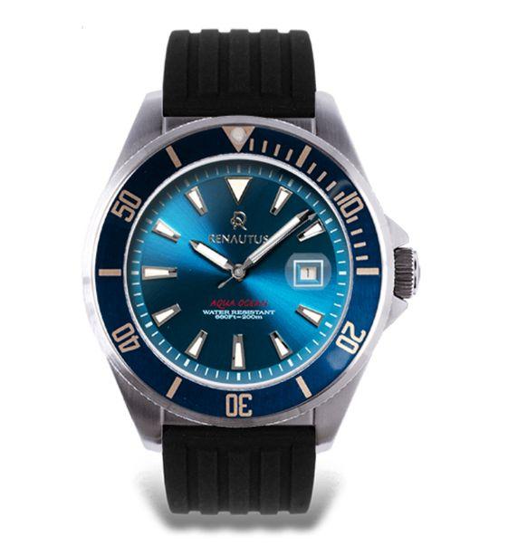 搭配橡膠錶帶的Aqua Ocean45 Auto 客製化潛水錶