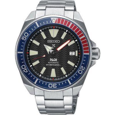 推薦手錶: Seiko SRPB99J1,一支黑色面盤、藍色紅色錶圈、銀色錶殼錶帶的手錶