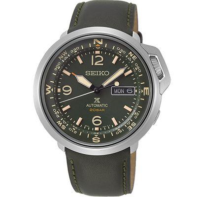 手錶推薦: Seiko SRPD33J1,一支綠色面盤錶帶、銀色錶殼的手錶