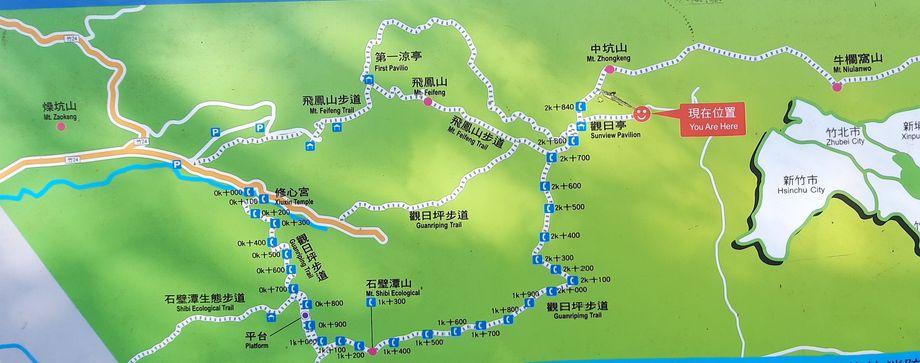 飛鳳山的地圖,上面標有各種飛鳳山的登山步道與路線
