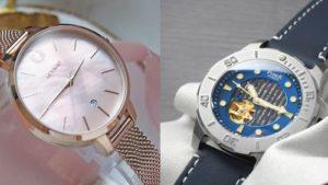 台灣手錶品牌推薦示意圖,圖的左側為一支粉紅色的台灣品牌荷萊的手錶,而右側則是台灣品牌Fiber的藍色海洋潛將手錶