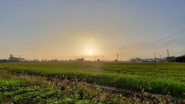 錦山公園旁的炎山自行車道的兩旁田園景觀,圖片正中央有夕陽,下方為綠色稻田,上方為藍天但帶有一點淡淡白霧