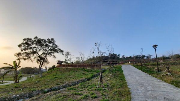 錦山公園入口,右側有白色道路,左側有綠色草皮與大樹