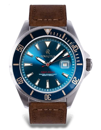 Renautus訂製手錶款式之一: AquaOcean Automatic 藍面金屬紋