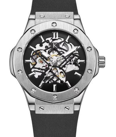 手錶推薦: Klein Dedon銀,是一支銀色錶殼錶盤、黑色橡膠錶帶的鏤空設計手錶