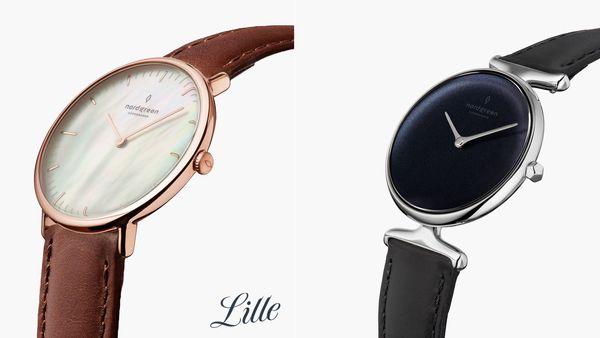 手錶品牌推薦: Nordgreen的品牌封面,左邊為Nordgreen的一支牌色面盤、棕色錶帶的手錶,右邊則是黑色面盤、黑色錶帶的手錶