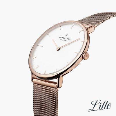 手錶推薦: Nordgreen Native,一支白色面盤、玫瑰金錶帶錶殼的手錶