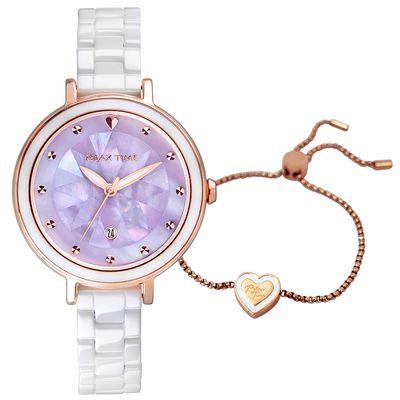 台灣手錶推薦品牌Relax Time的薰衣紫貝殼拼貼手錶