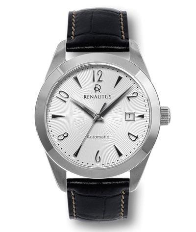 搭載Miyota 821A機芯的Renautus 放射紋白盤銀殼黑帶手錶