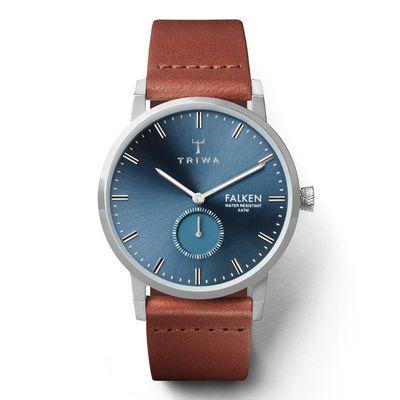 手錶推薦: Triwa Falken,為一支藍色面盤、銀色錶殼、棕色皮帶的手錶
