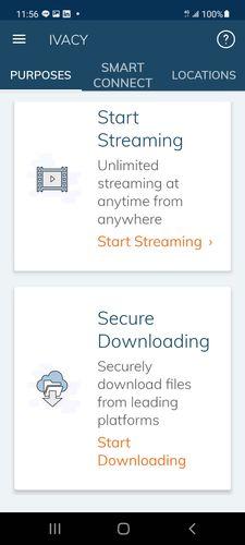 Ivacy VPN 手機板功能介面,上方有Purposes、Smart Connect、Locations,此時的畫面是點擊Purposes的狀態,下方有Start Streaming以及Secure Downloading
