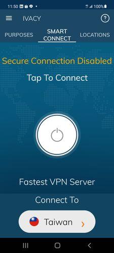 Ivacy VPN手機板智慧連接介面,上方一樣有Purposes、Smart Connect、Locations三個選項,目前的頁面試選擇Smart Connect。中間有兩行字,第一行為黃色的字寫著Secure Connection Disabled,第二行寫著Tap To Connect,而下方有個白色的電源形狀按鈕。最下面則是伺服器連接國家的選單