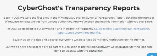 Cyberghost VPN資料保存透明性審查