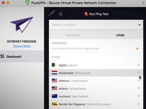 Pure VPN操作介面