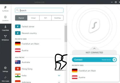 Surfshark VPN的電腦版操作介面,左側有各種國家國旗與選單,右側則是連線的按鈕