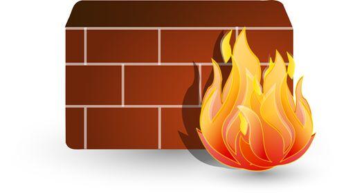圖片為紅色磚瓦牆壁背景與位於右側的火焰,代表著防火牆,示意VPN可以翻過中國的網路防火牆