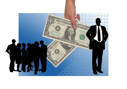 圖片有隻手將美金遞給穿西裝的人,用以表示退款,示意VPN的退款保證期