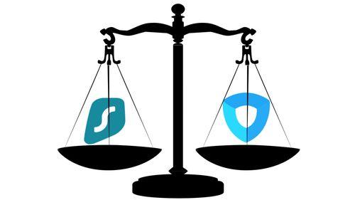Surfshark VPN VS Ivacy VPN,圖片有一個黑色天平,左側放著Surfshark VPN的標誌,右側放著Ivacy VPN的標誌,兩者放在天平上,意味著相互比較