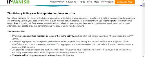 IPVanish的隱私權政策,圖片寫著IPVanish的各項隱私權